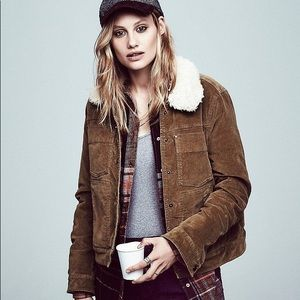 Free People Corduroy Sherpa Lined Trucker
